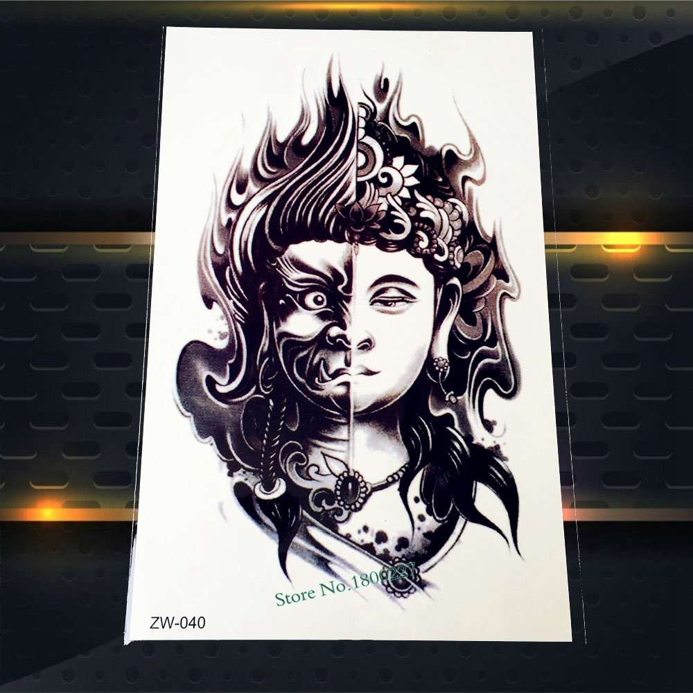 1PC Cool Black Waterproof Arm Tattoo Sleeve Decal Two Face Evil Buddha Design Waterproof Body Art Temporary Tattoo Sticker PZW40