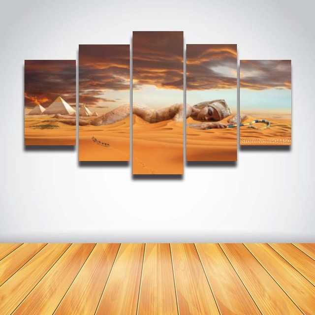 Printed Egyptian art Pharaoh pyramids desert picture landscape for wall  decor Canvas  Print living room work framed