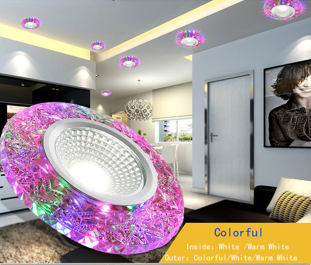 3 W Led Downlight Modern Ruang Tamu Tersembunyi Panel Dipimpin Warna Warni Cahaya