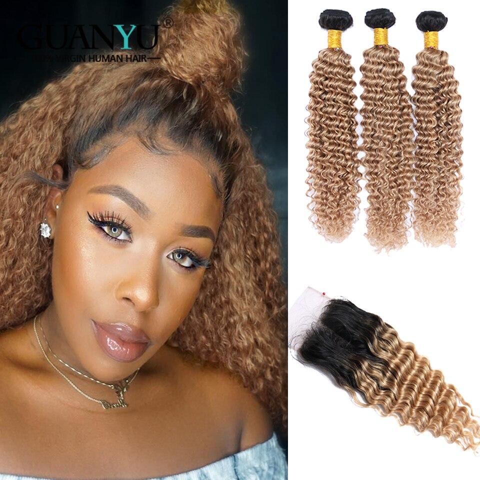 Guanyuhair Ombre 1B/27 Miel Blonde Culy Cheveux Bundles Avec Fermeture Remy de Cheveux Humains Brésiliens Vague Profonde