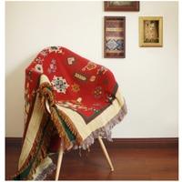 Pure cotton linen Retro nostalgia carpet thin blanket tie dye Ethnic Art blanket bed cover living room bedroom Felts tapestry