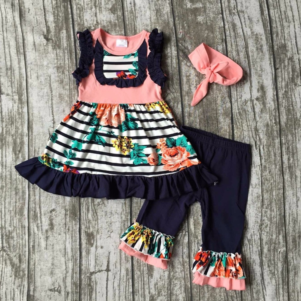girls baby Summer cotton navy coral striped outfit floral clothes boutique ruffles capris kids bow sets matching  accessories 2016 summer baby child girls outfits ruffles shorts white striped watermelon boutique ruffles clothes kids matching headband set