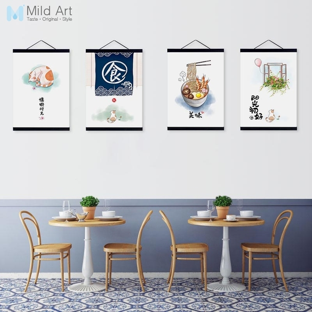 Kawaii Cat Chinese Food Quotes A4 Wooden Framed Canvas Paintings Oriental Kitchen Restaurant Home Decor Wall Art Pictures Scroll