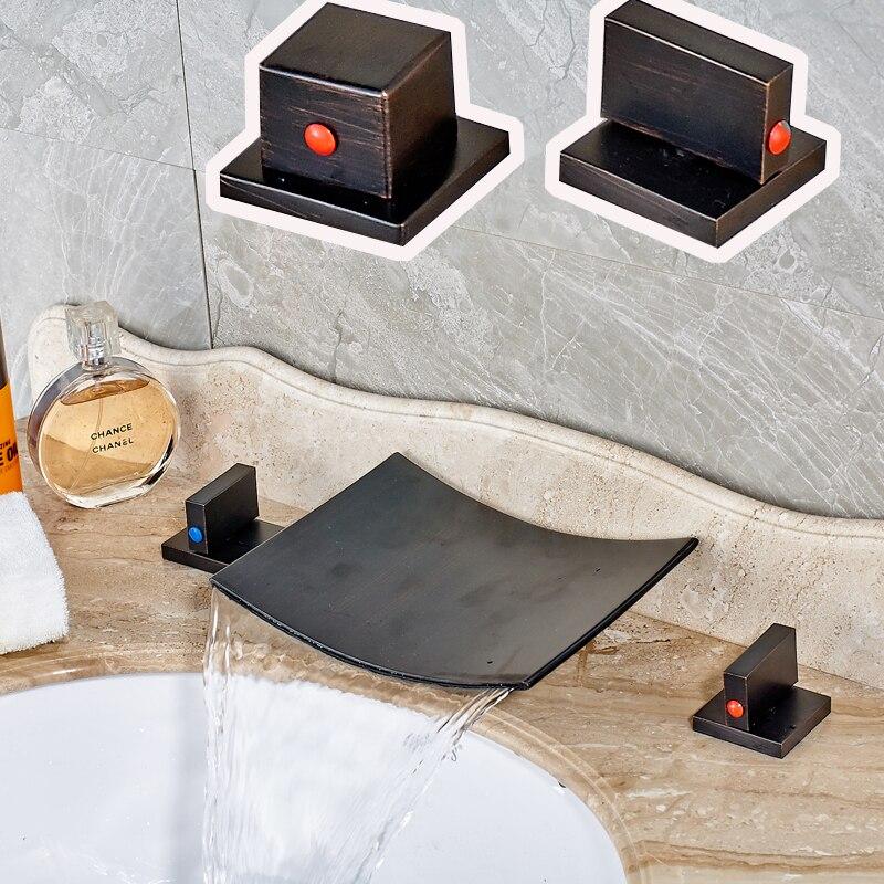 Oil Rubbed Bronze Black Waterfall Spout Bathroom Sink Tub Mixer Faucet Dual  Handle Deck Mount Basin
