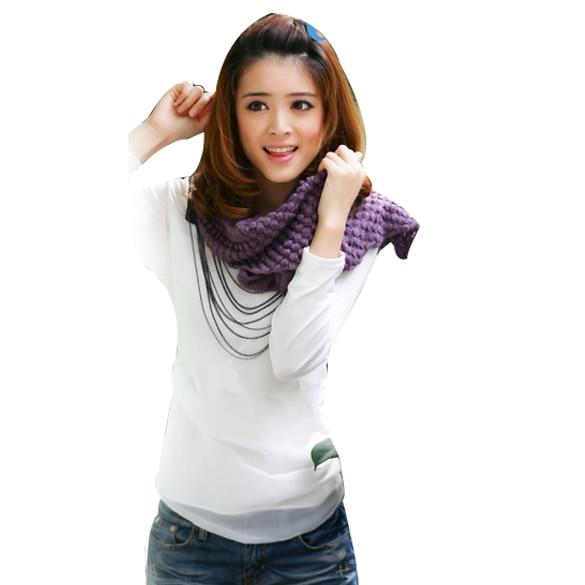 2014 Winter Women Warm Infinity 2 Circle Cable Knit Cowl Neck Long Scarf Shawl E JL