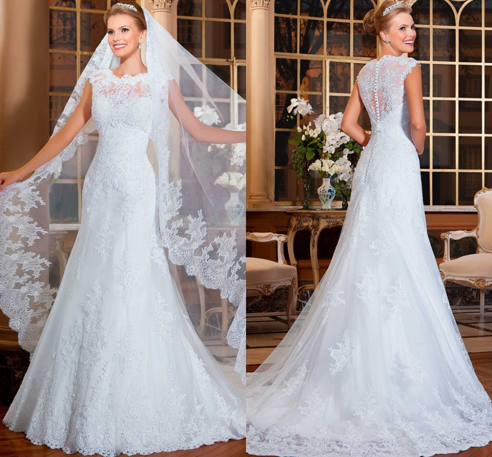 Graceful vestidos de noiva Cutton Back Dress Beading Wedding dress VERNASSA Sheath Lace Wedding Dresses with Chapel Train in Wedding Dresses from Weddings Events