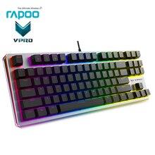 Lo nuevo Rapoo LED retroiluminada Gaming Teclado mecánico de Metal del Panel del Teclado usb juego con cable Keybord para Dota 2 juegos Teclado Gamer PC