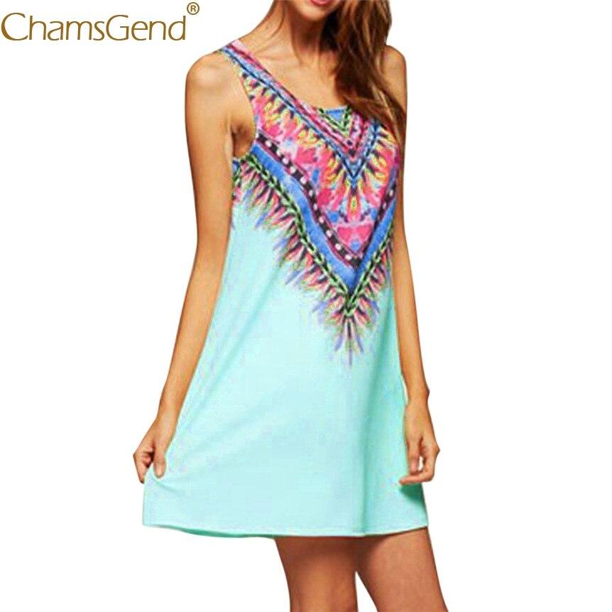 Women Boho Feather Print Summer Sleeveless Beach Short Mini Dress 80417