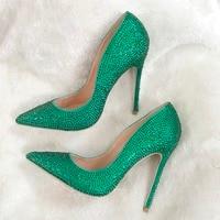 Free Shipping Real Pic AORANJIMM Green Crystal Rhinestone Women Lady Party High Heel Dress Shoes Pump