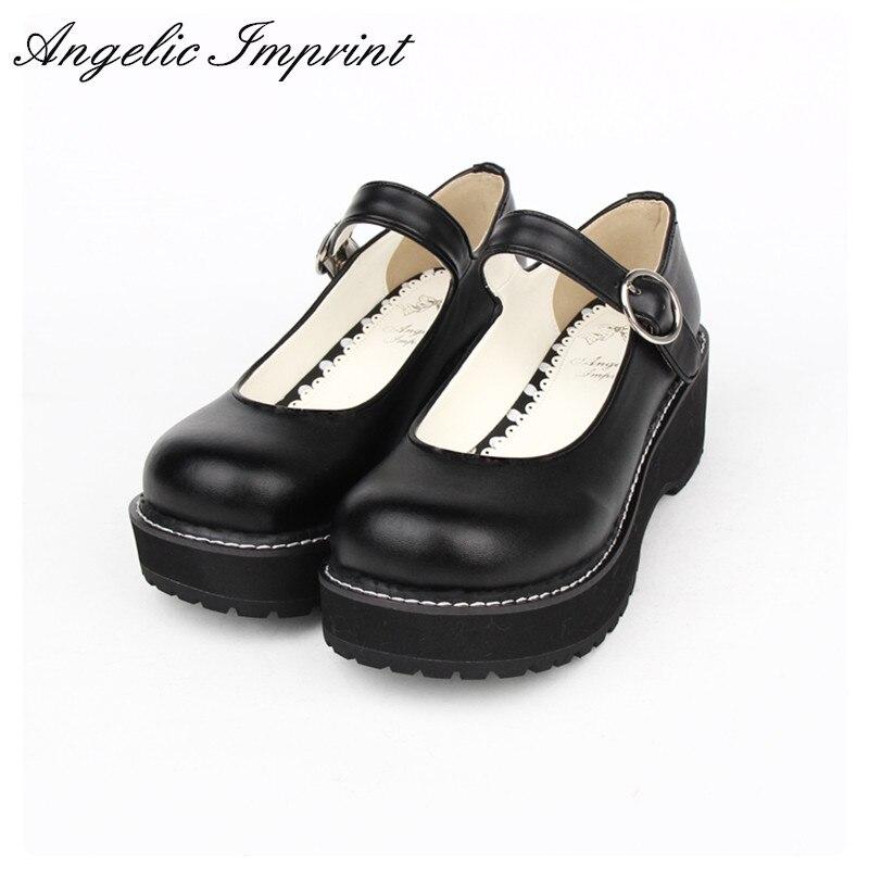 جميلة بسيطة تصميم سميكة منصة لوليتا حذاء بكعب ويدج بو الجلود الأبيض ماري جين أحذية للبنات-في أحذية نسائية من أحذية على  مجموعة 1