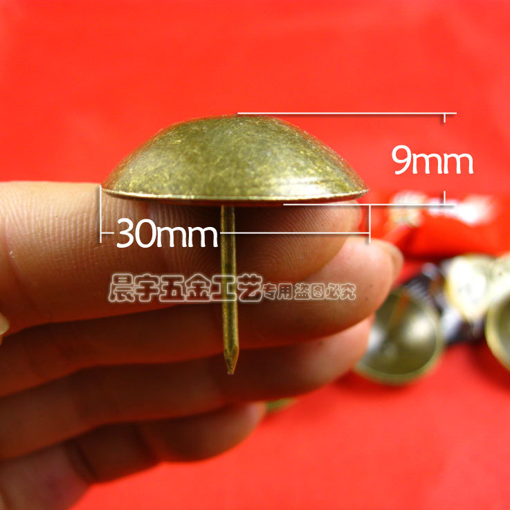 30 30mm Bronze Furniture Hardware Decorative Bubble Nails Wooden Box Antique Upholstery Tacks Luggage Bag