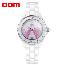 DOM Women Watches Fashion Top Luxury Brand Ceramic Crystal Quartz Wristwatch Women Casual Dress Ladies Pink White Clock dom women watches dom brand luxury new casual waterproof leather dress quartz watch mesh strap clock relogio faminino g 36gk 1ms