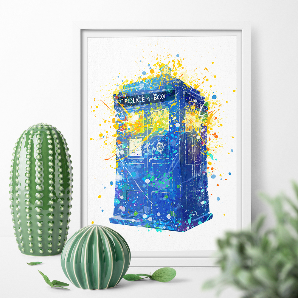Watercolor Doctor Who TARDIS Art Canvas Poster Print Canvas Painting Wall Art Home Decor Sticker for Kid Room