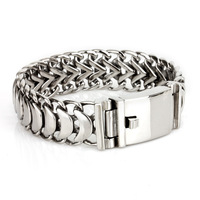 High Quanlity 22mm Unique Mens Silver Polish Scorpion Bracelet Bangle Chain Wristband Stainless Steel Watchband Free