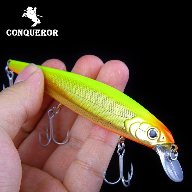 Conquistador de varejo modelo quente iscas de pesca hard bait cores diferentes para escolher 125mm 16g minnow, qualidade profissional minnow