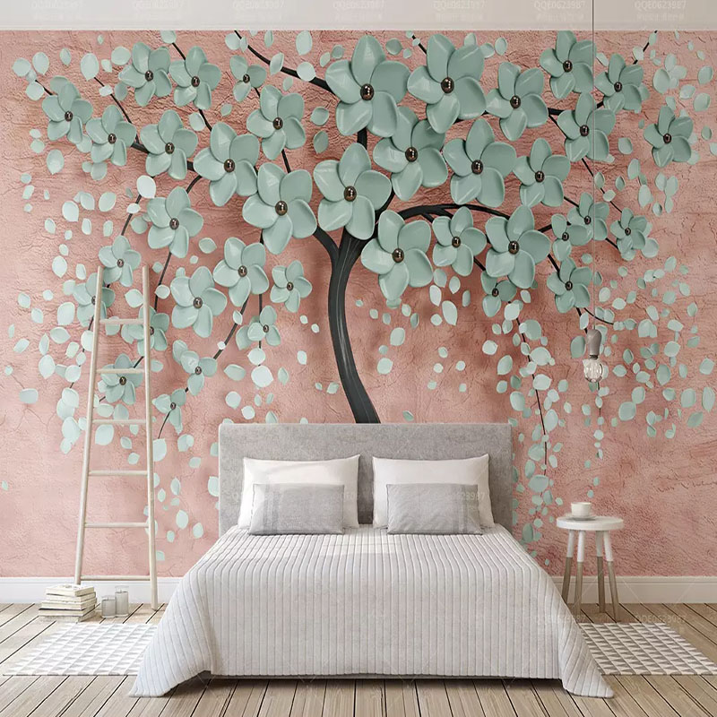 Custom photo wallpapers simple one tree nordic flowers - Wallpaper one wall in living room ...
