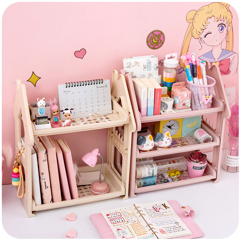 Cute Assembly desktop organizers Storage Box Bathroom Plastic Shelf Cable Storage makeup holder Home Doll House Decor