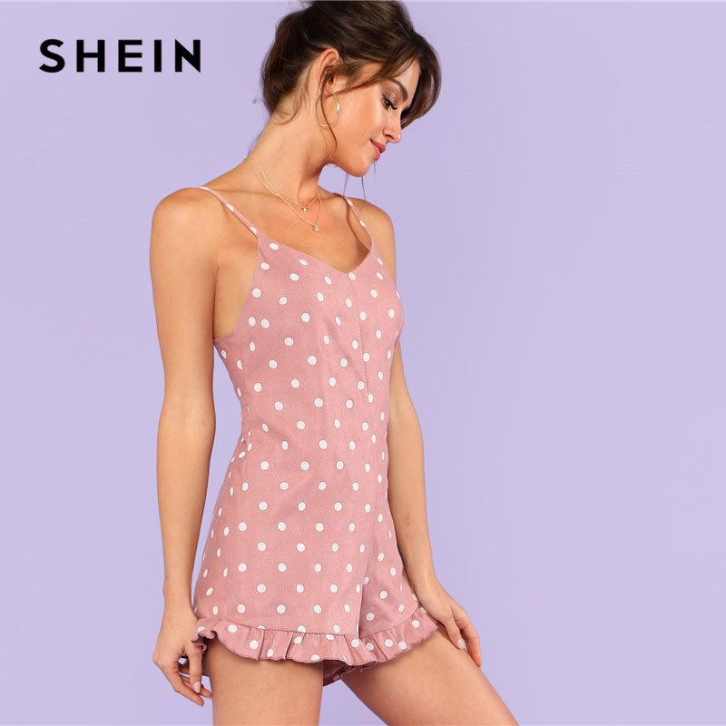 ec0c4659d46 SHEIN Pink Ruffle Leg Polka Dot Cami Romper Women Spaghetti Strap  Sleeveless Lace Up Backless Playsuits 2018 Summer Sexy Romper on  Aliexpress.com