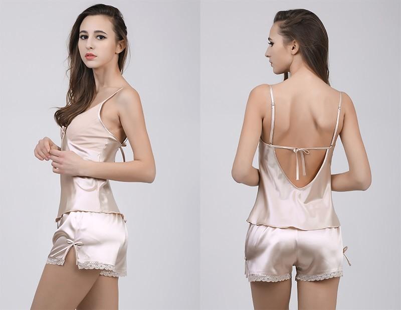 HTB1FgkyLFXXXXaUXFXXq6xXFXXXz - Solid Satin Chiffon Women Pajama Sets Spring Summer Night dress PTC  157