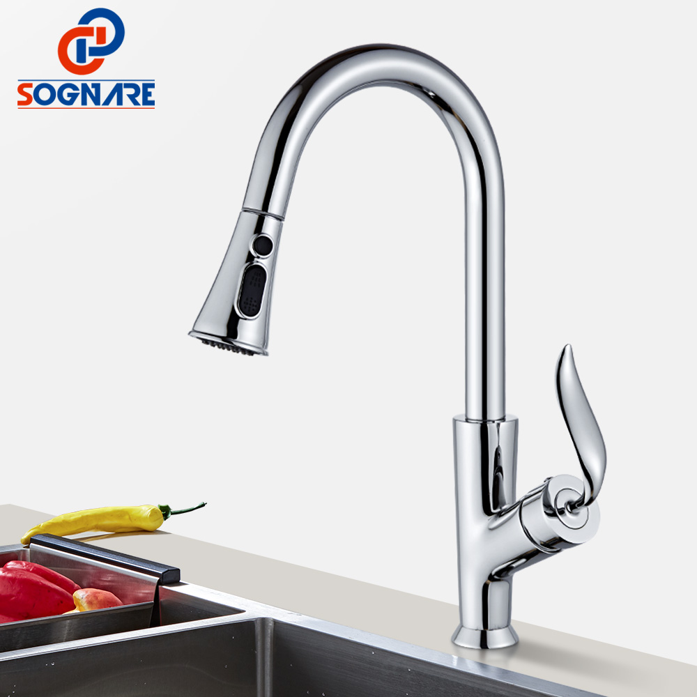 SOGNARE Best Sellers Kitchen Faucet Solid Brass Swivel Pull Out Water Mixer Tap Single Handle For Kitchen 360 Faucet Single Hole micoe pull style hot and cold water kitchen faucet mixer single handle single hole modern style chrome tap 360 swivel m hc103
