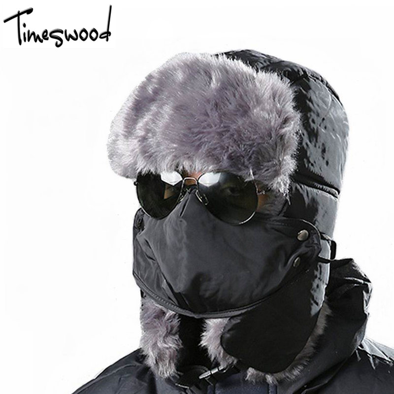 Winter Hats For Men Women Warm Fur Hat Aviator Snow Bomber Cap With Ear Flaps Black Red Russian Hats Men Beanies Hat With Mask
