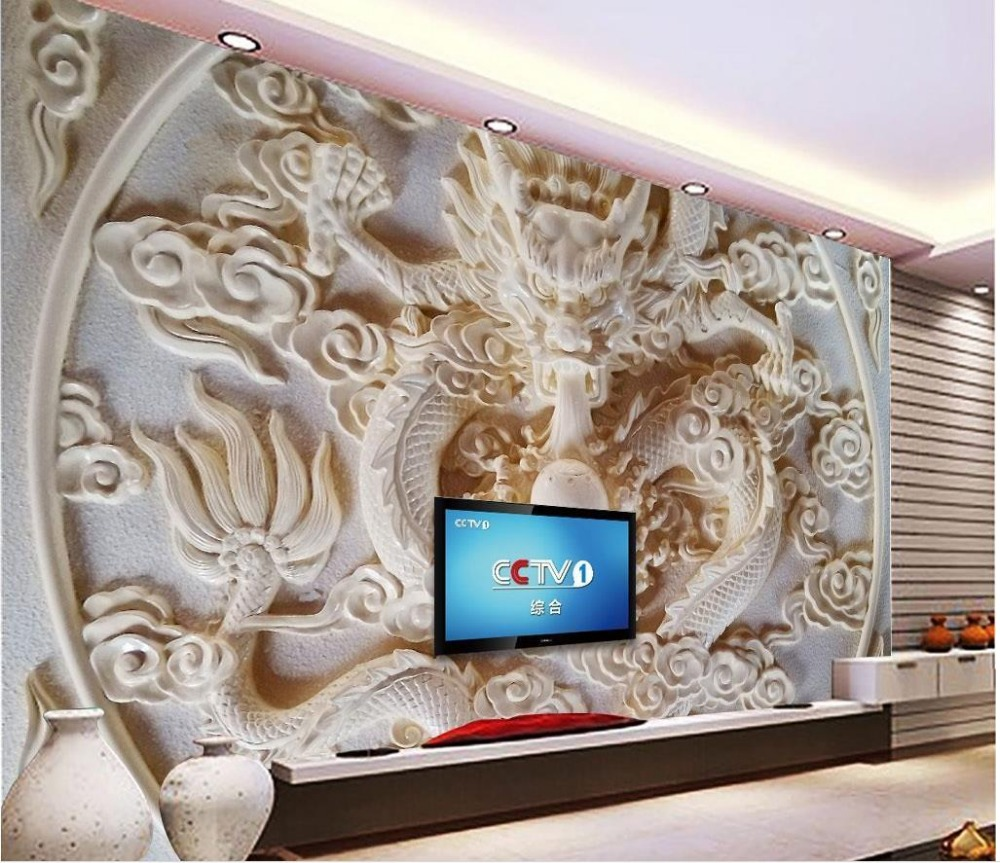Minimalist Modern European Large Mural Living Room 3D Wallpaper Dragon  Relief Custom Photo Wallpaper Large 3D Stereo Romantic In Wallpapers From  Home ...