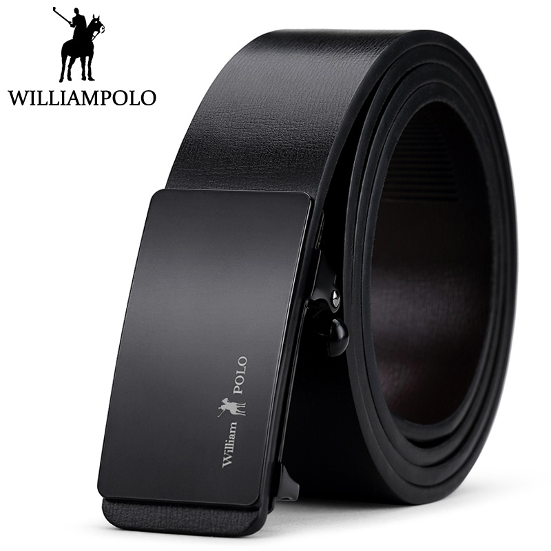 WilliamPolo Genuine Leather Men   Belt   Business Automatic   Belts   For Male Cowskin Waistband Strap Luxury Design PL068-70P