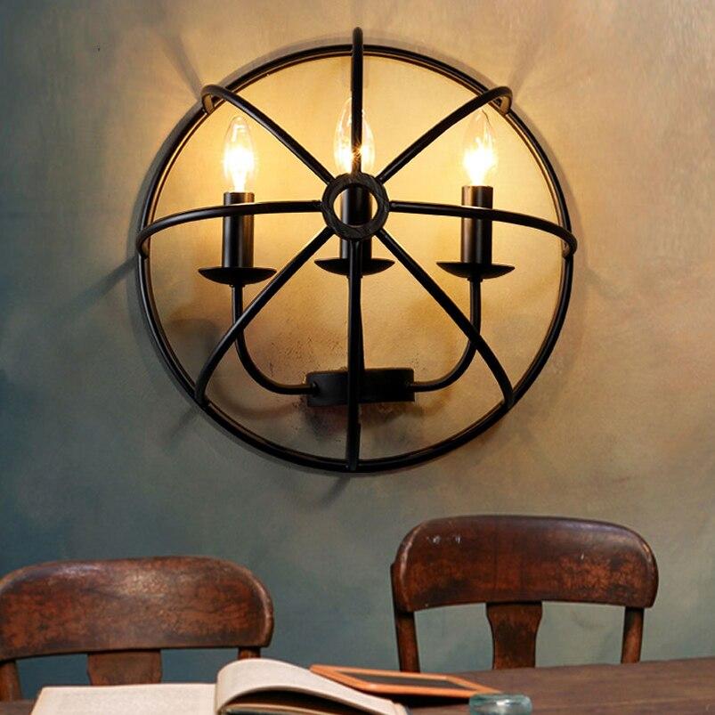 Retro Iron Wall Lamp LOFT Industrial Dining Room Bedroom Bedside Living Pub Corridor Cafe