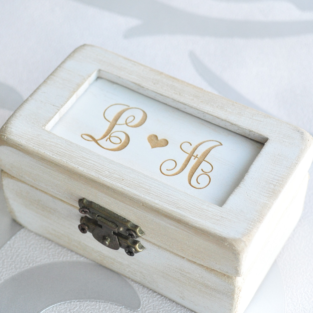 Personalised Rustic Wedding Ring Box, Engraved Ring Box Ring ...