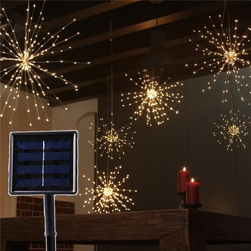 Art Decor Solar Powered Lamp Copper Wire Starburst String Light For House Garden Patio Wedding 200 Led 120 Leds Starry Garland