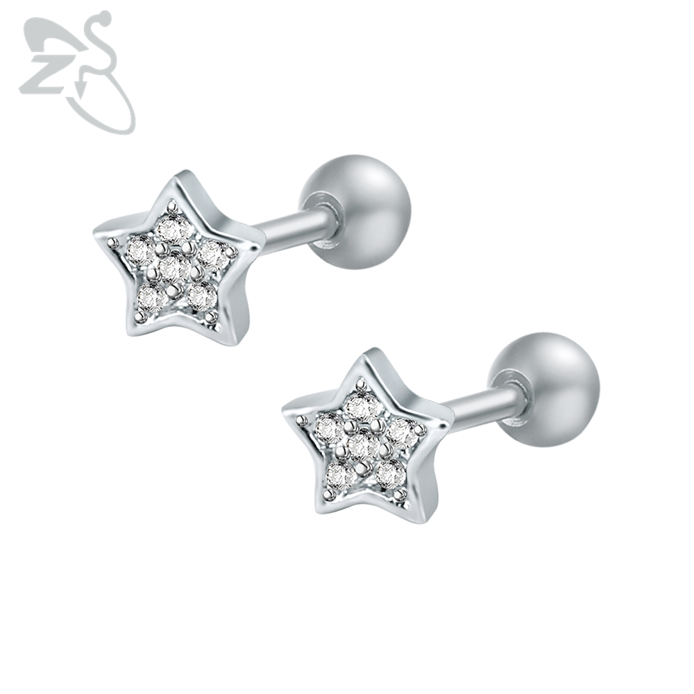 e29f2d35ac538 ZS Trendy Star 316L Stainless Steel Stud Earring for Female Small AAA Cubic  Zirconia Ear Studs for Women Stones Orecchini Donna