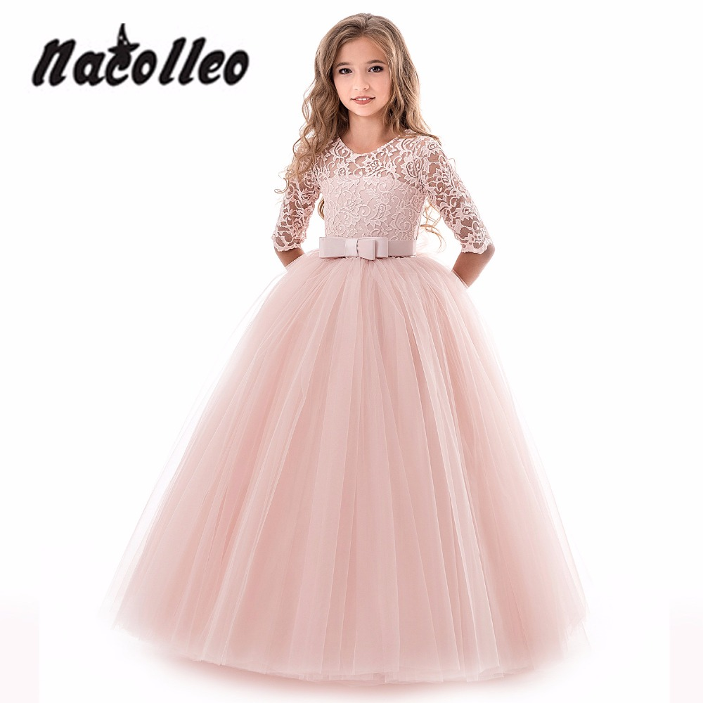 Lace Kids Dresses For Girls Elegant Wedding Dress Evening
