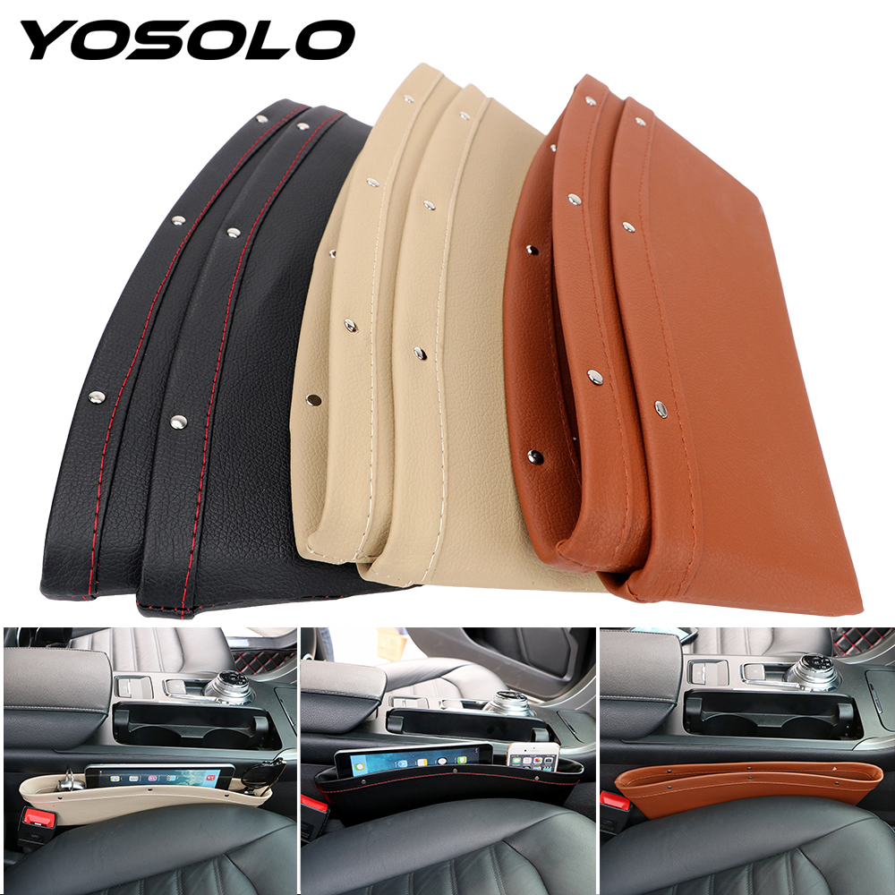 YOSOLO 2pcs/Set Car Seat Crevice Storage Box Bag Case Leak Proof Seat Gap Pocket Catcher Organizer PU Leather Stowing Tidying