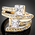 Princess Cut  AAA Level Shiny Cubic Zirconia 24K Gold Plated Anel Fashion Love Rings for Women J00065