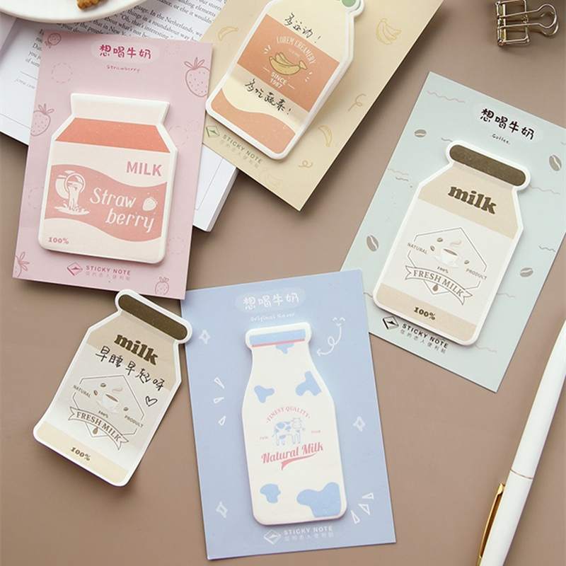 4pcs Cartoon Nature Milk Memo Note Cute Banana Coffee Post Sticky Planner Marker It Sticker Stationery School Supplies F498