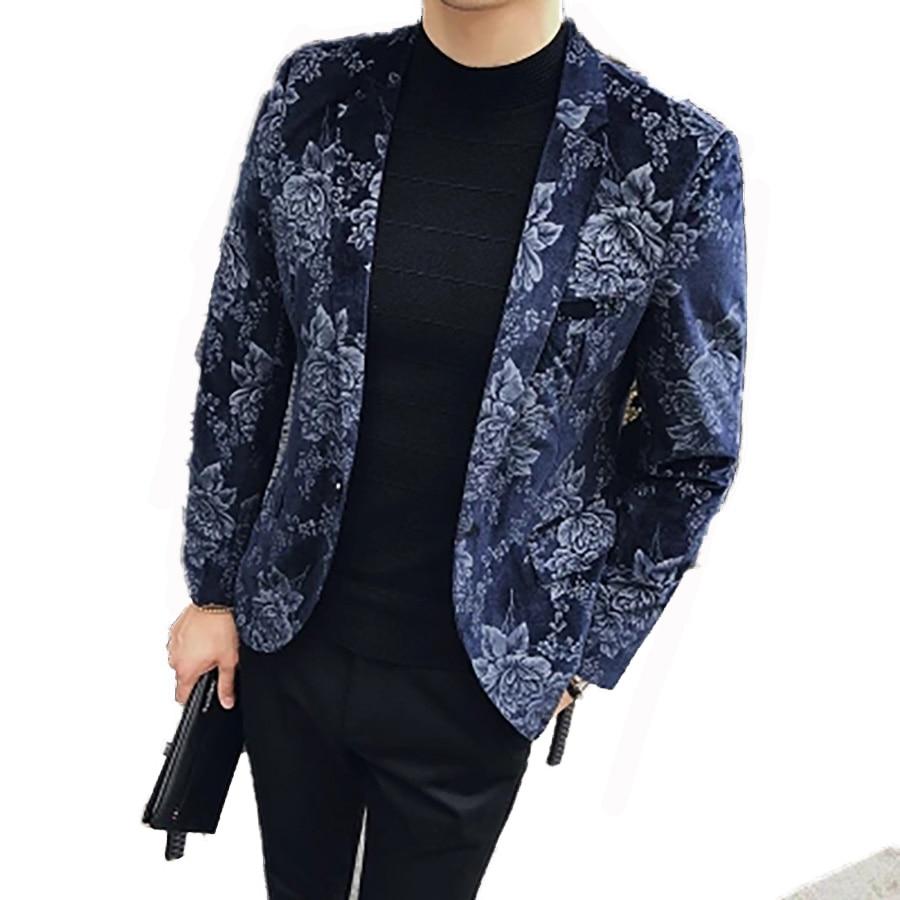 Koreaanse Flora Heren Blazer Mode Slanke Knop Streetwear Heren - Herenkleding