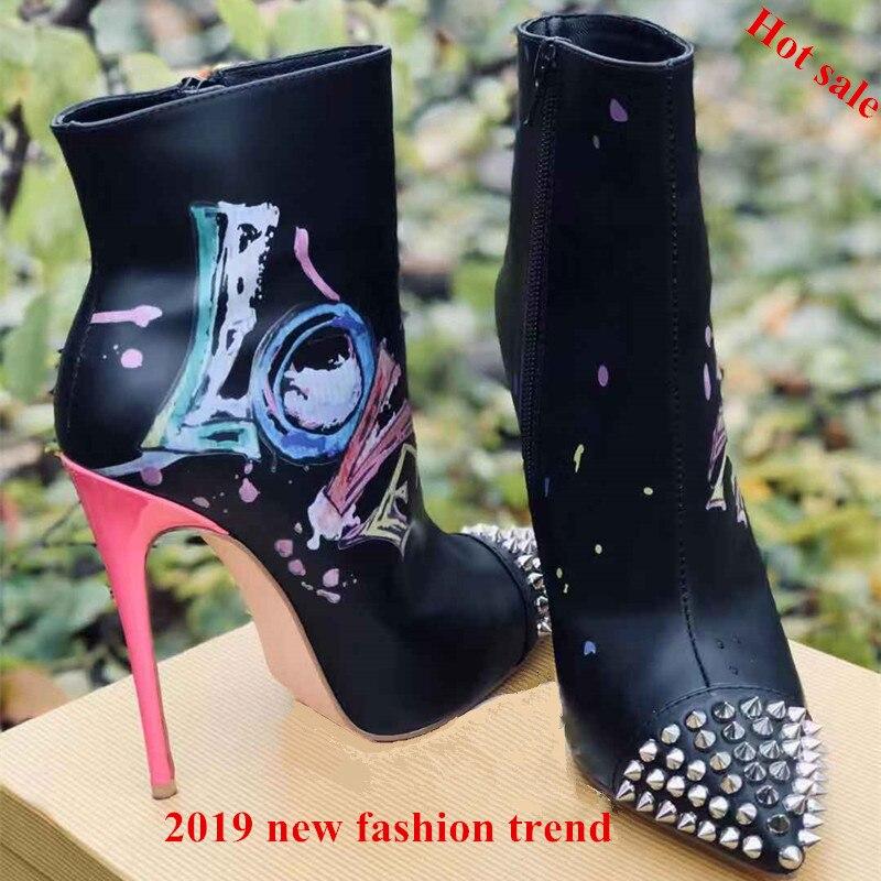 Remaches Zapatos Fiesta Tobillo 2019 Sexy Cuero Altos Graffiti Negro Tacones Mujer Baile Nuevo Negro Señaló Botas De blanco v7rwq760x
