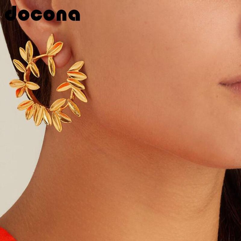 docona Gold Silver Dot Leaf Flower Stud Earrings for Women Open Circle Studs Statement Earring Oorbellen 5851
