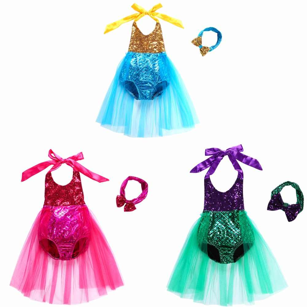 Baby Kids Girl Dress Mermaid Swimsuit with headband 2PCS baby Girl Princess dress kids princess dress Mermaid Baby girl Clothes
