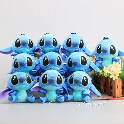 Bonito llavero de dibujos animados de Lilo y Stitch de 4 10 CM Kawaii de felpa 10 uds/lote animales de peluche