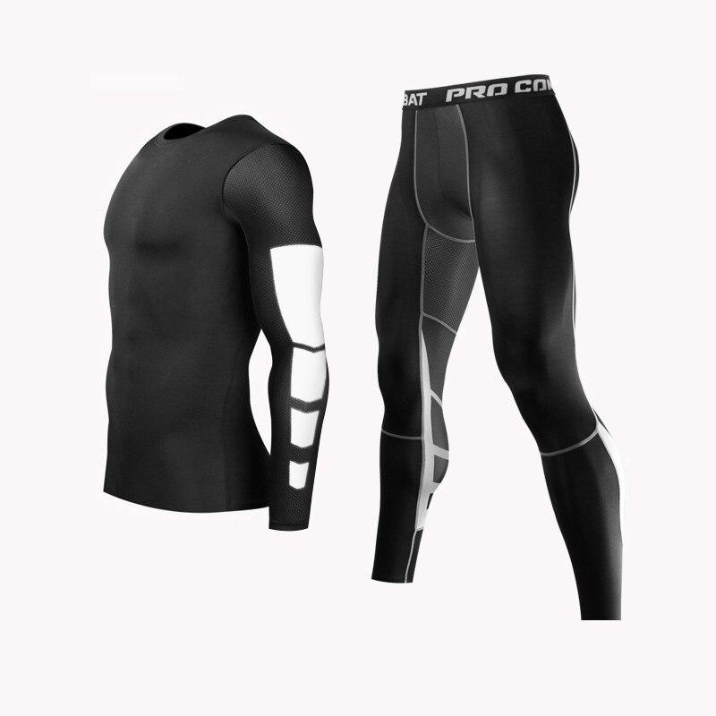 Men mma boxing shorts calças de compressão rashguard fitness mangas compridas camada base pele apertada camisas masculinas