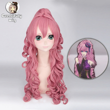 Anime Vocaloid RUKA Long Curly Cosplay Costume Wig Synthetic Hair Pink Halloween Party Woman Wigs With Claw Ponytail цена 2017