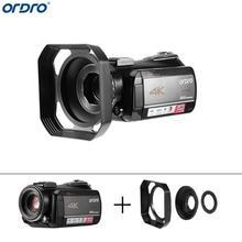 лучшая цена Ordro AC5 4K 12X Optical Zoom Digital Cameras 24MP WiFi IPS Touch Screen Camcorders+Lens Hood Camera Camcorder Recorder