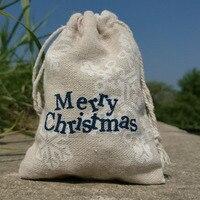 Merry Рождество снег льняной мешочек 9x12 см 10x15 см (4