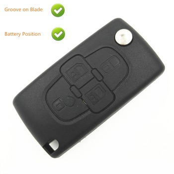 Replacement Remote Case For Peugeot 207 307 407 1007 4 Button Flip Key Shell Blank Key Case with Battery Place Groove on Blade image
