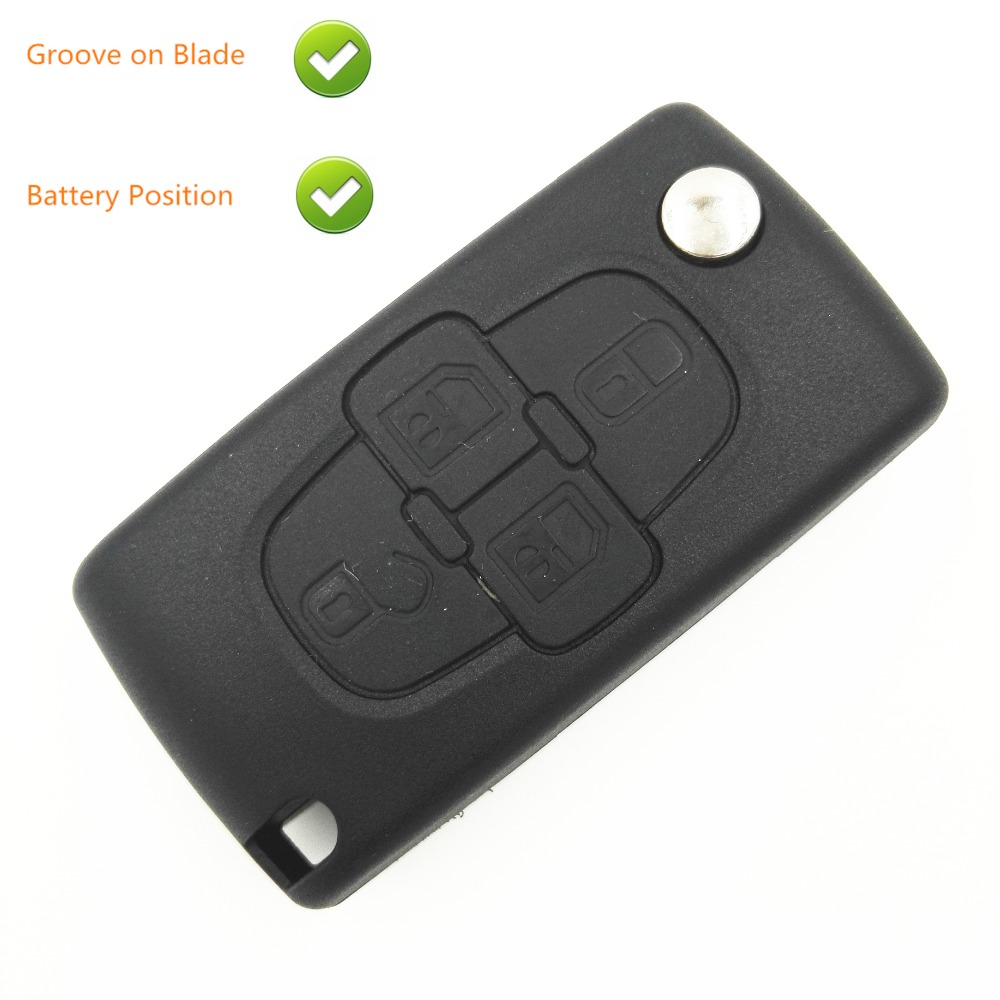 Replacement <font><b>Remote</b></font> Case For <font><b>Peugeot</b></font> <font><b>207</b></font> 307 407 1007 4 Button Flip <font><b>Key</b></font> Shell Blank <font><b>Key</b></font> Case with <font><b>Battery</b></font> Place Groove on Blade image