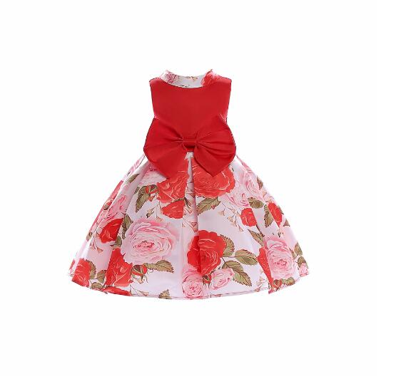 Girls Formal Dress 2018 Summer Printed Floral Princess Dresses Bow Christmas Kids Party tutu Dress Children's Vest Dress Red 10T girls christmas xmas dresses kids girls princess party carnival tutu dress baby girl red new year fancy party dress up outfits