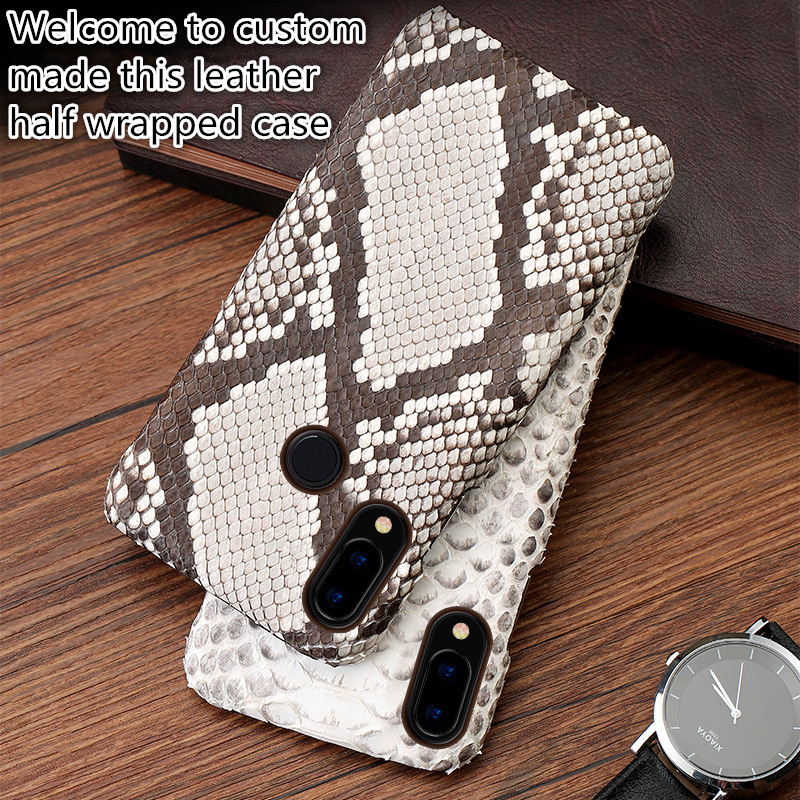 QH17 Python skin genuine leather half wrapped case for Sony Xperia 10 Plus 6 5 phone