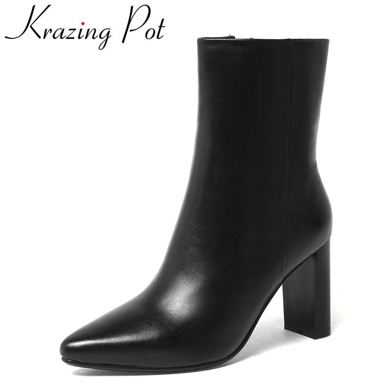 Krazing Pot superstar genuine leather fashion winter shoes zipper thick heel motorcycle boots nightclub women Mid-Calf boots L67 new fashion superstar brand winter shoes embroidery snow boots tassel women mid calf boots thick heel causal motorcycles boots