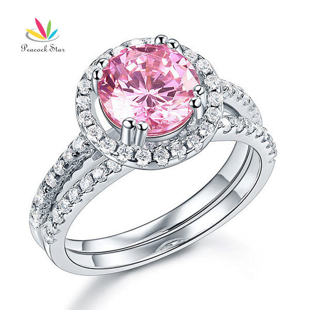 peacock star solid 925 sterling silver wedding engagement halo ring set 2 ct fancy pink wedding - Pink Wedding Ring Set